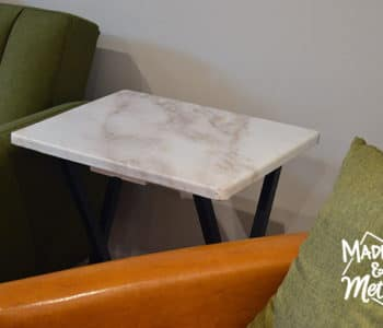 marble wallpaper table makeover