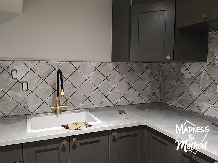 grouting diagonal tiles