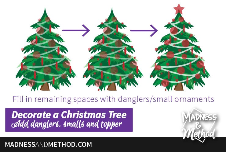 how to add tinsel or other ornaments to christmas tree