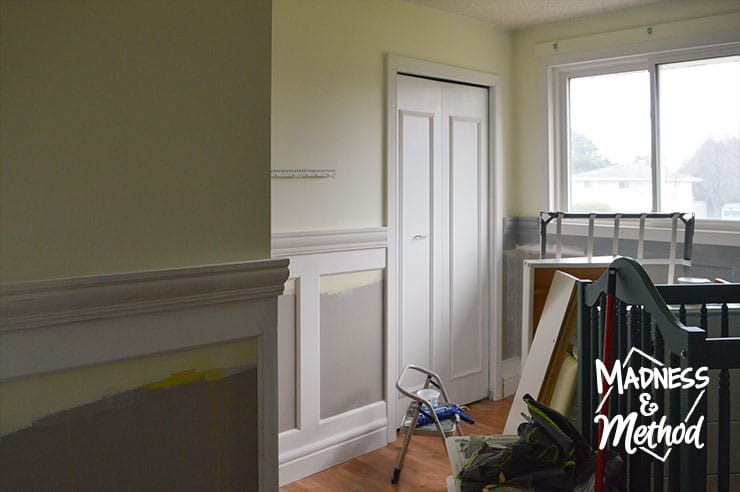 wainscoting bedroom progress
