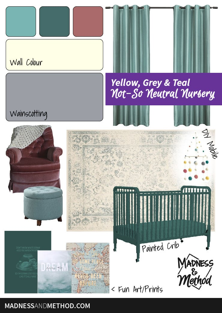 yellow grey and teal nursery plans