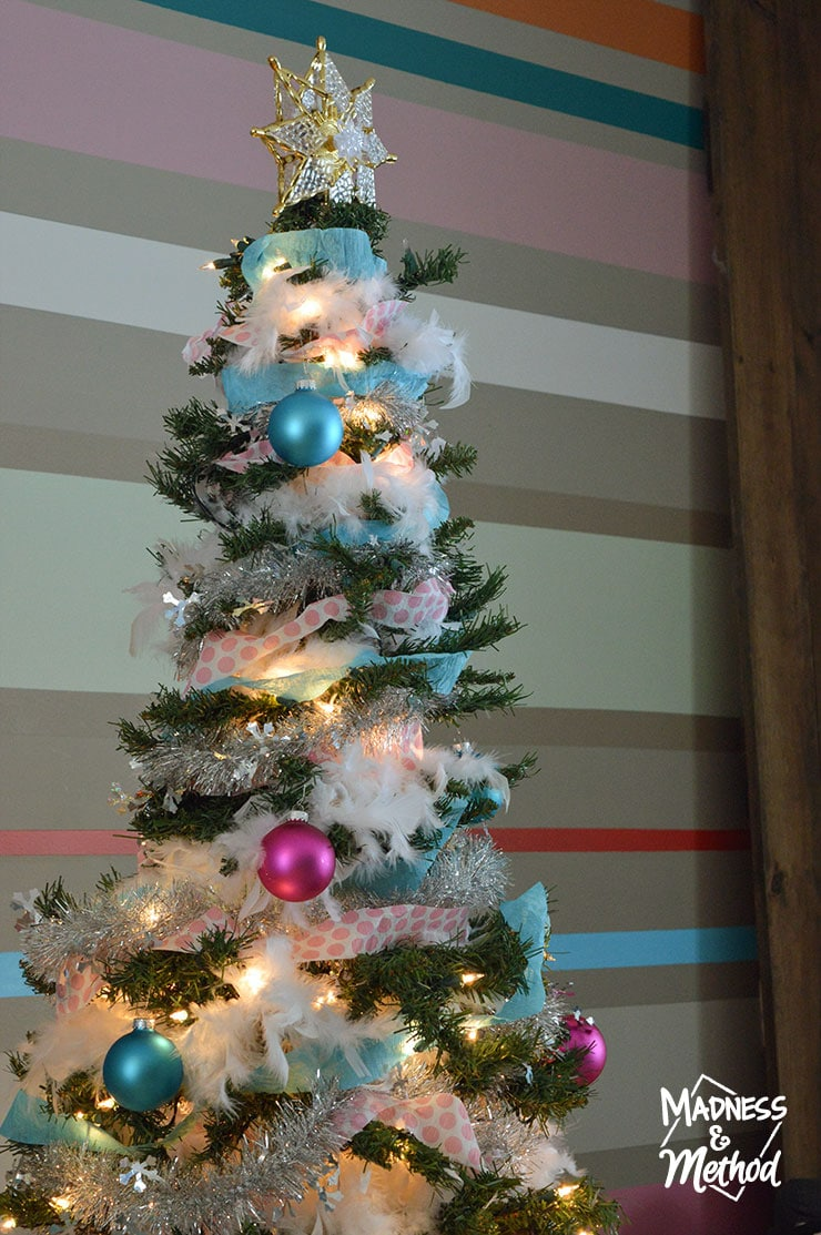 pink and blue christmas decor