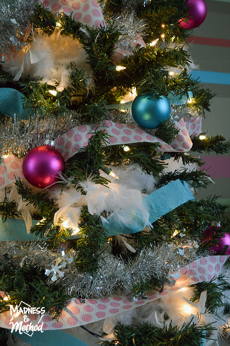 pink and blue tree decor