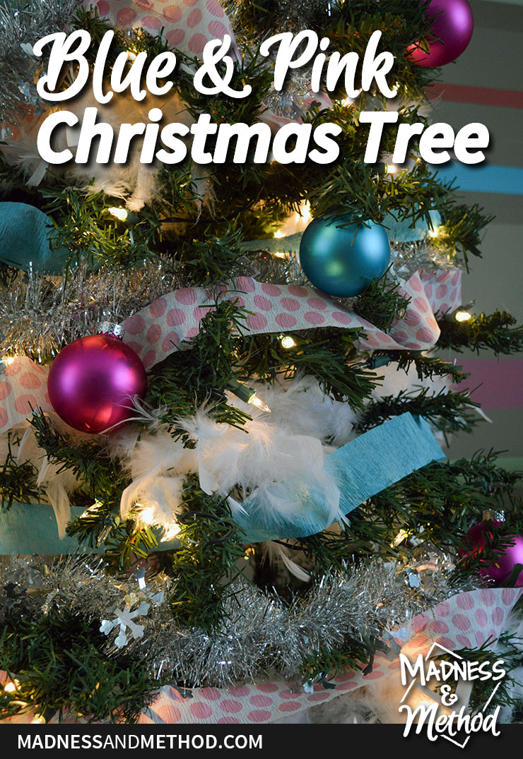 blue and pink christmas tree decor