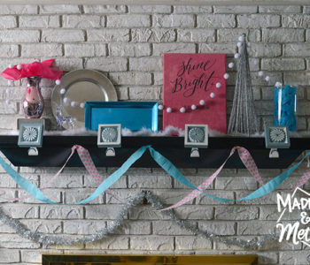 blue and pink mantel