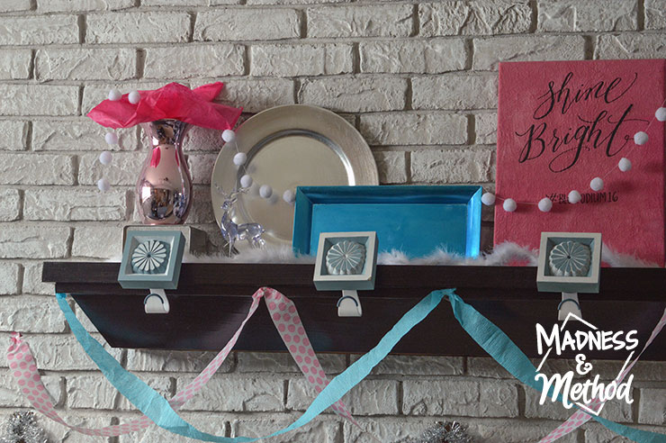 baby blue and pink mantel