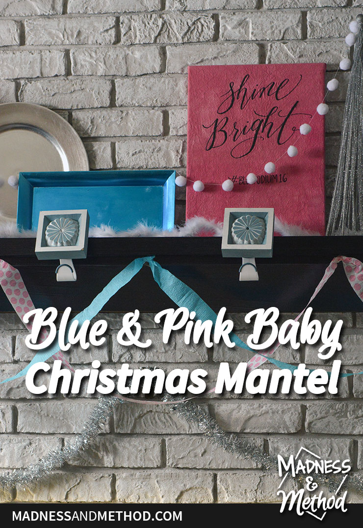 blue and pink baby christmas mantel