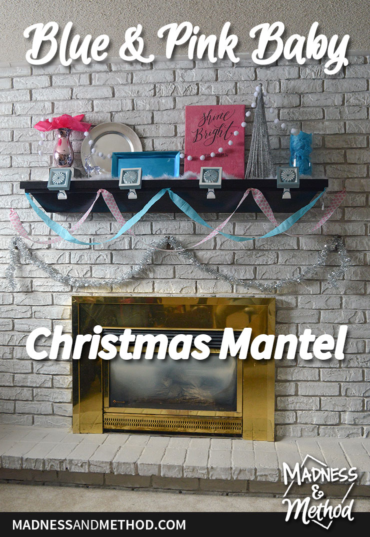 blue and pink baby mantel