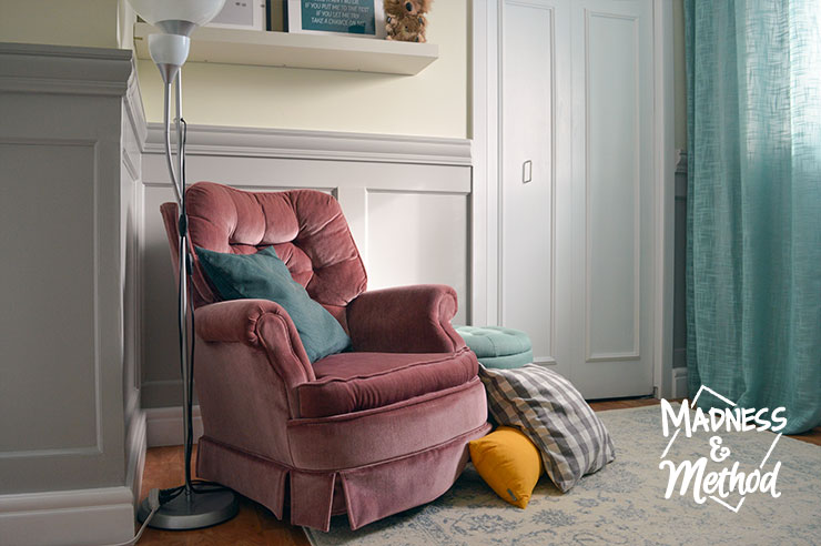 nursery reveal pink chair