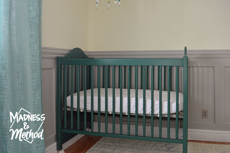 dark teal crib