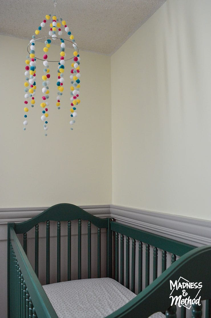 pompom mobile over crib