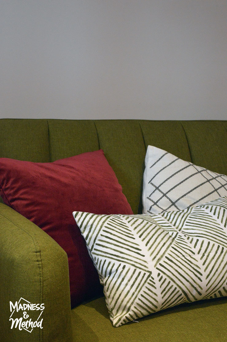 painted pillow on sofa
