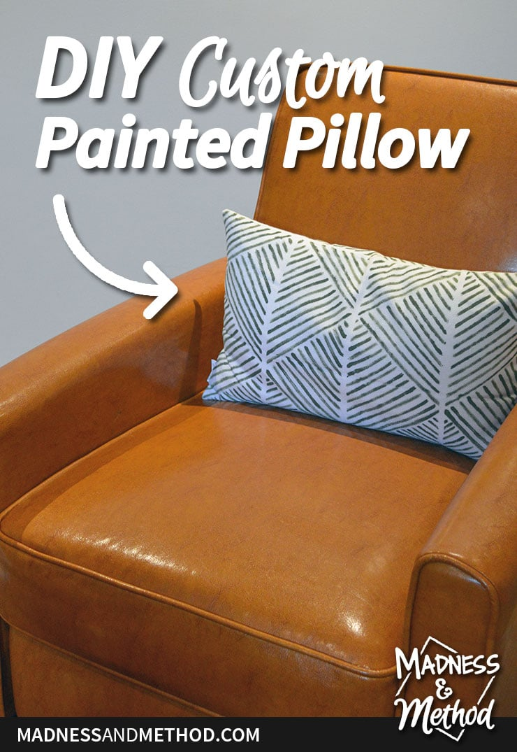 custom pillow painted with stripes