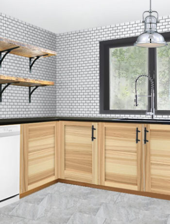 rustic industrial kitchen plans mockup