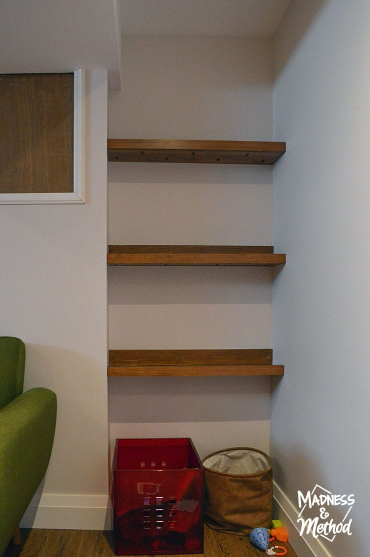three shelves