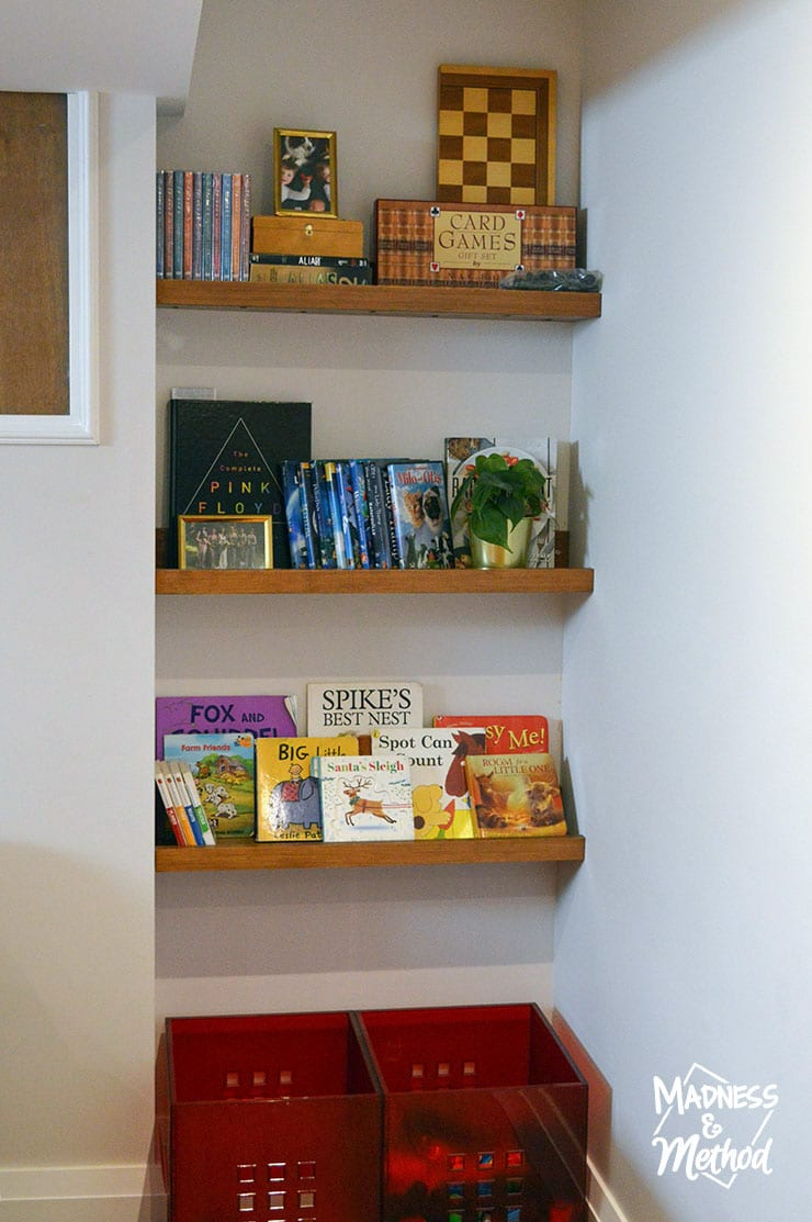 three kid friendly shelves