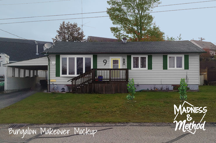 facade bungalow makeover mockup