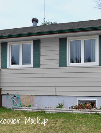 grey siding green shutters