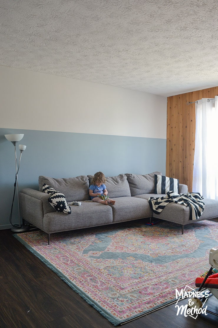 grey sectional sofa in living room