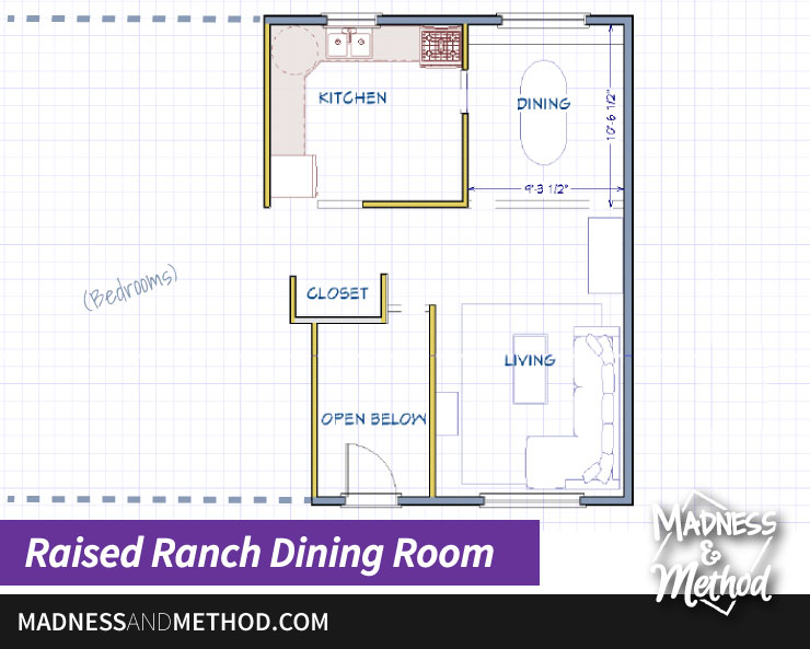 raised ranch dining room layout
