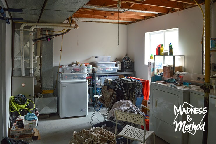 messy basement laundry room