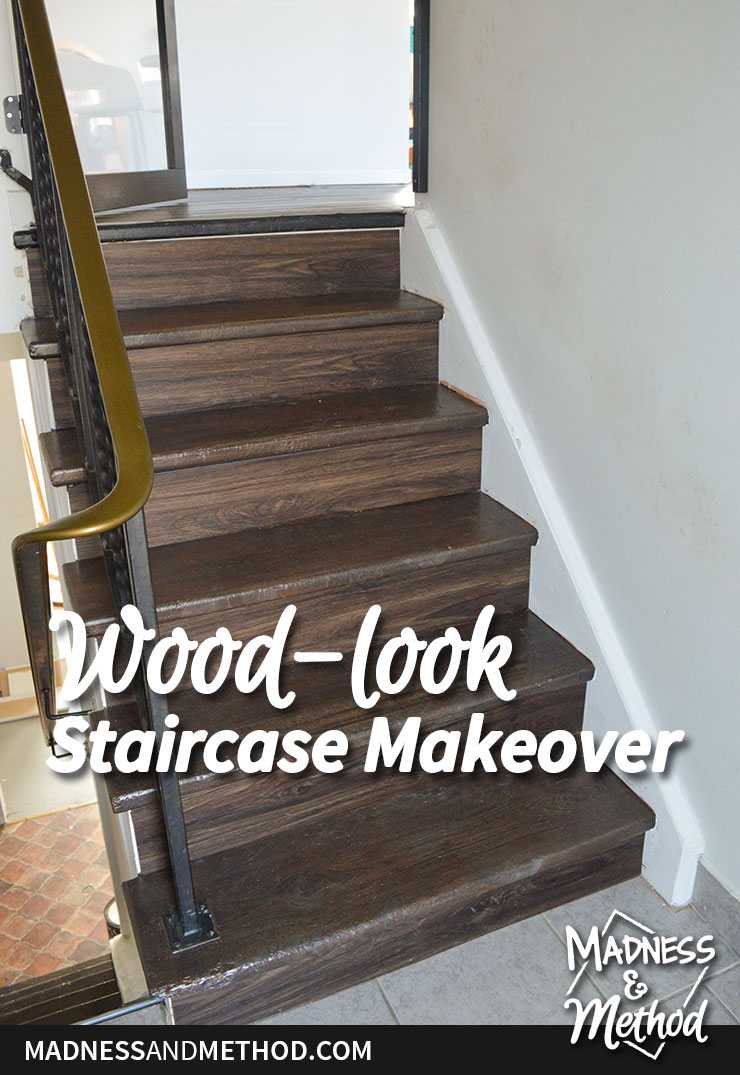 wood look staircase makeover graphic