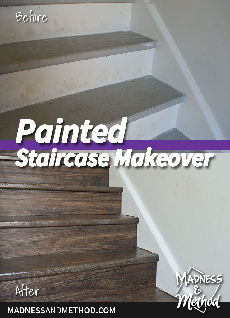 painted staircase makeover before after