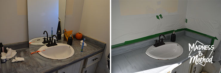 painting bathroom counters