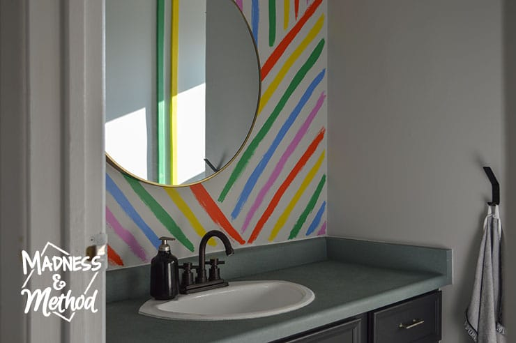 rainbow stripe mural