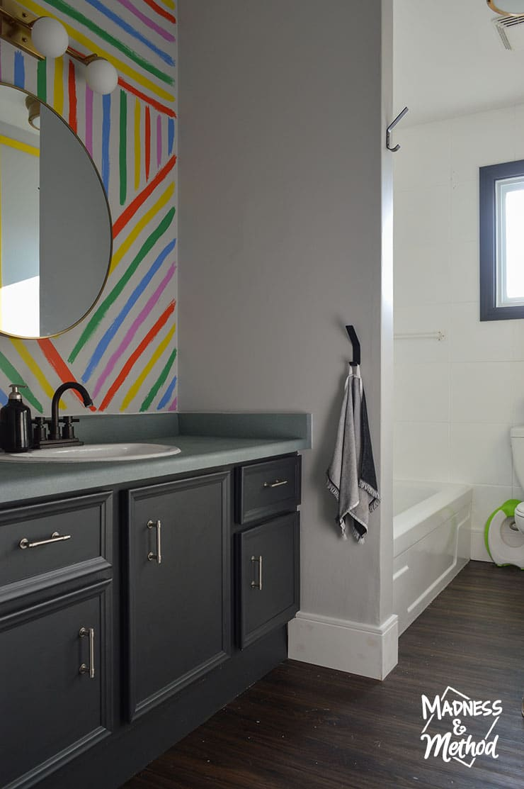painted black bathroom vanity