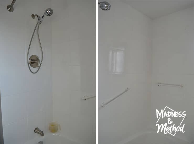 white painted shower tiles