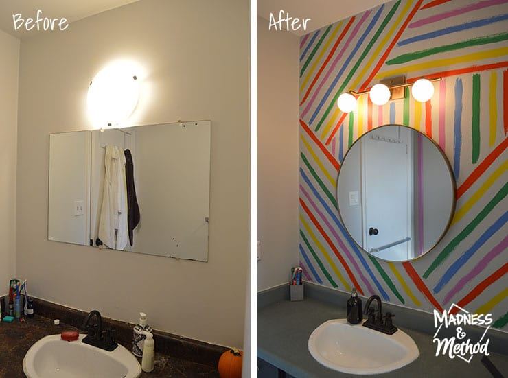 bathroom accent wall before after
