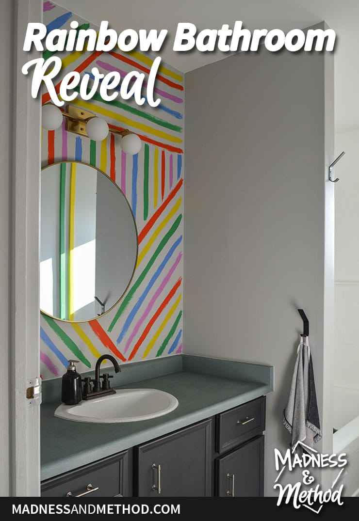 rainbow bathroom reveal graphic