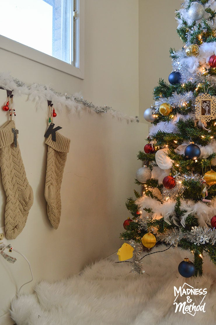 christmas tree near stockings