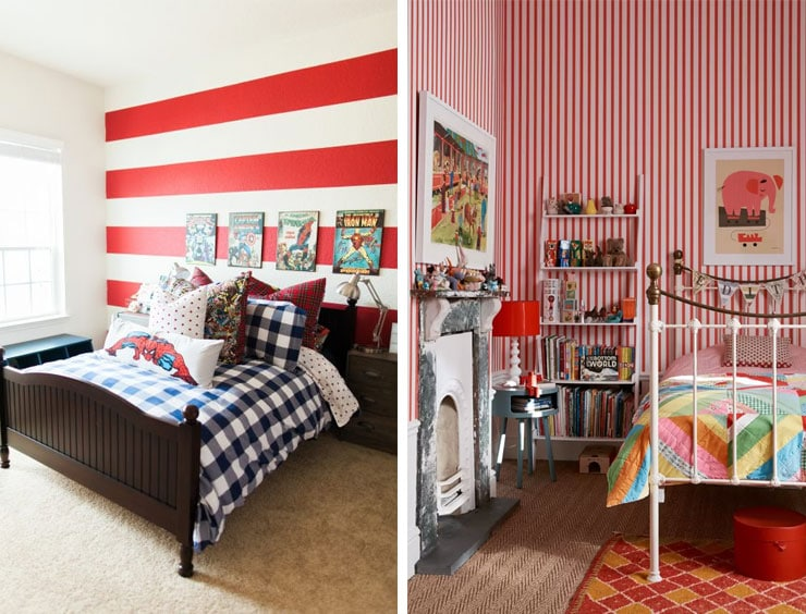 striped red kids rooms