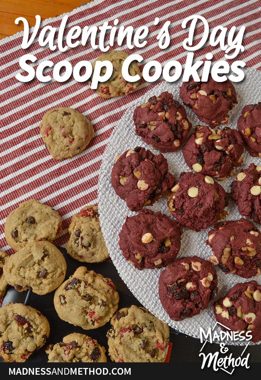 red valentines scoop cookies
