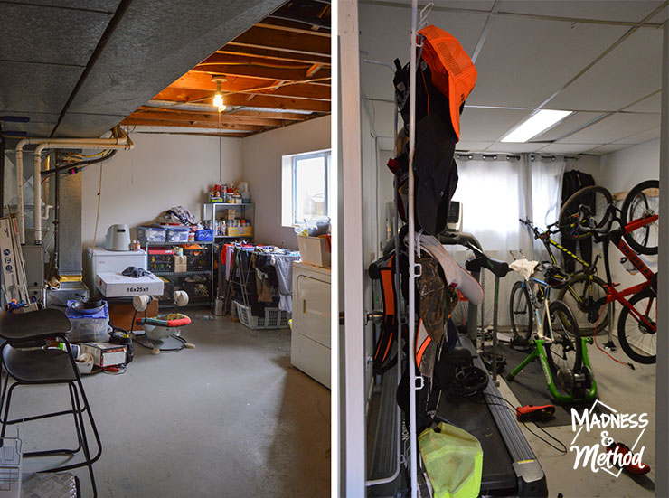 basement laundry and workout room