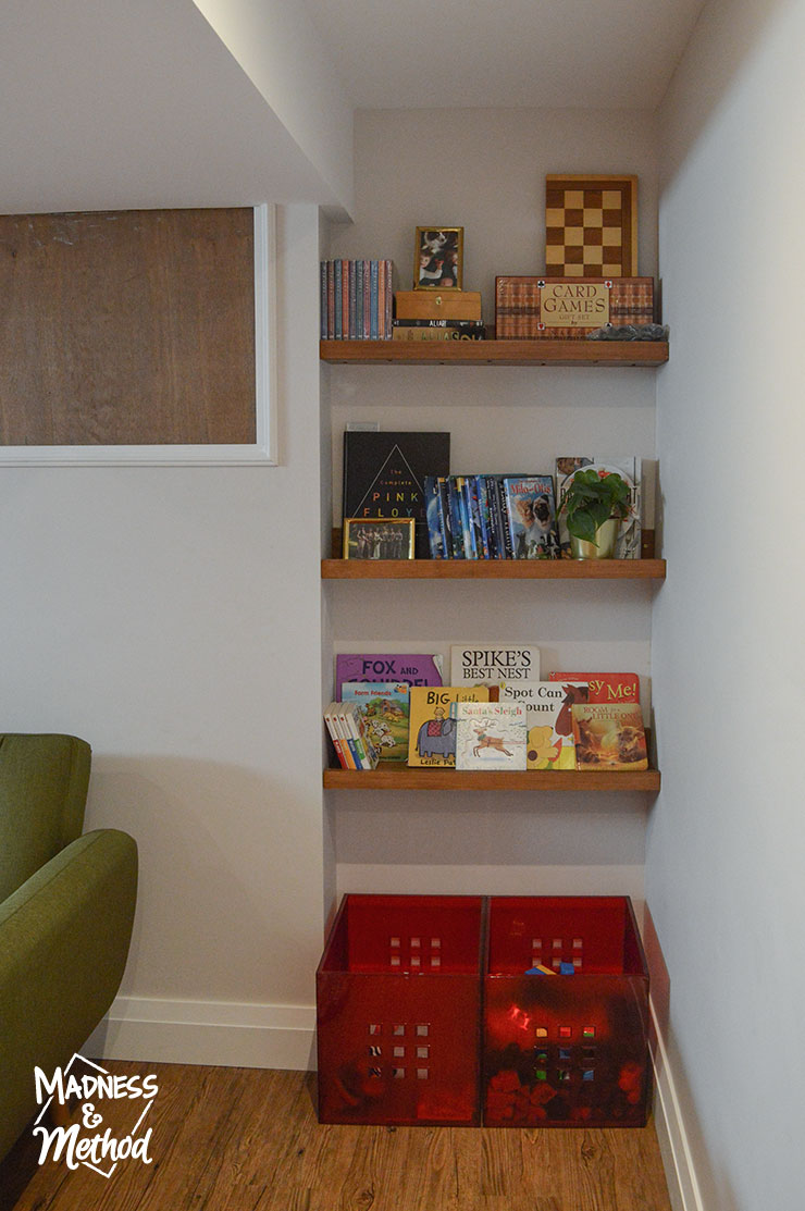 storage shelves with games