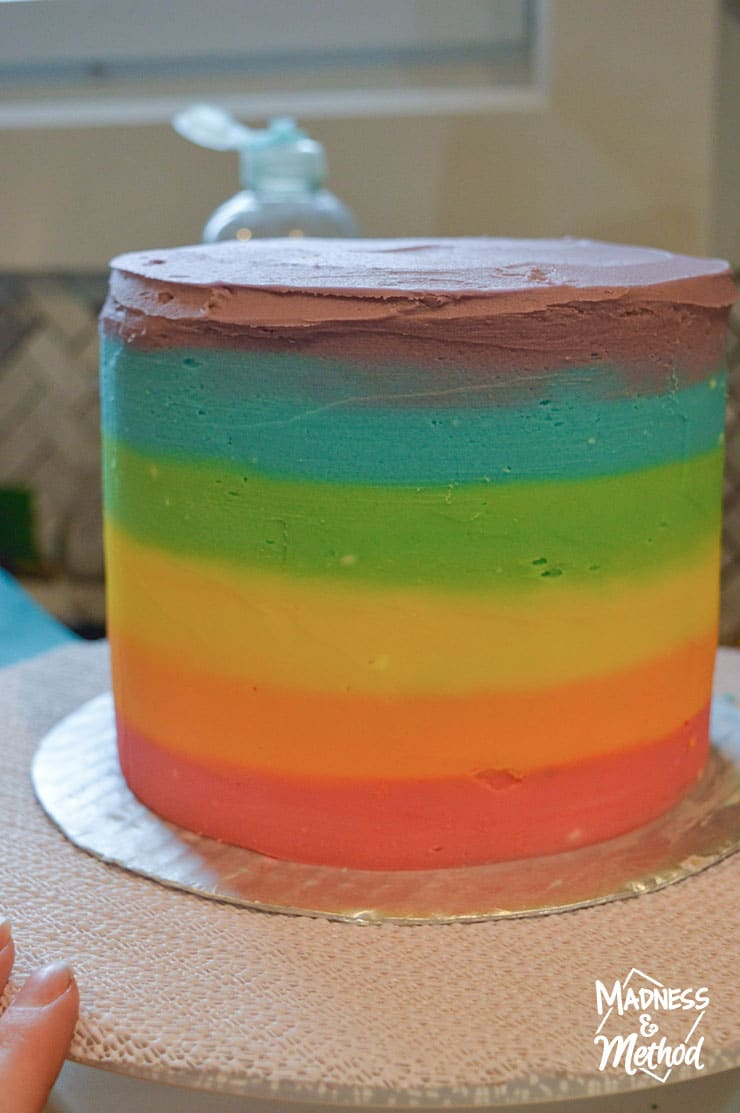 rainbow ombre cake icing