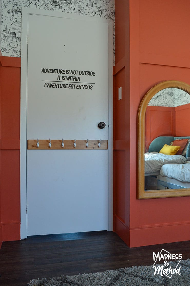 white door red walls