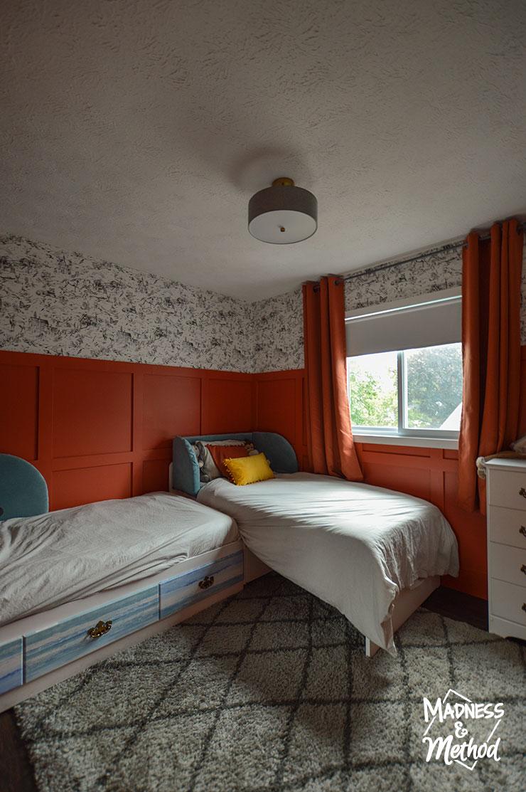 red bedroom beds