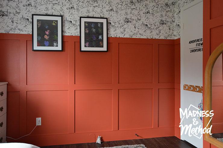 red walls white wallpaper