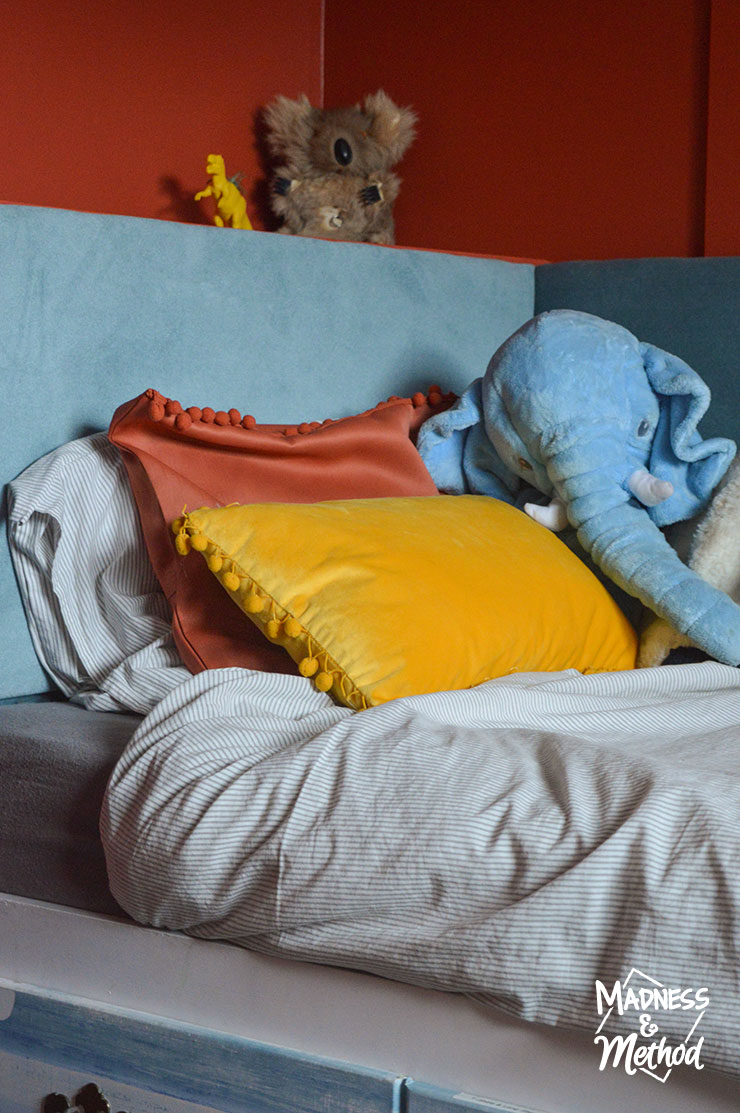 blue red yellow pillows