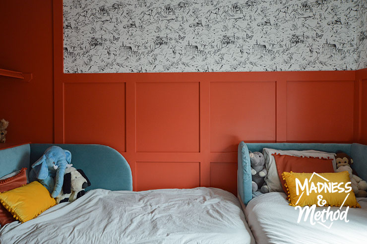 red wainscoting white wallpaper