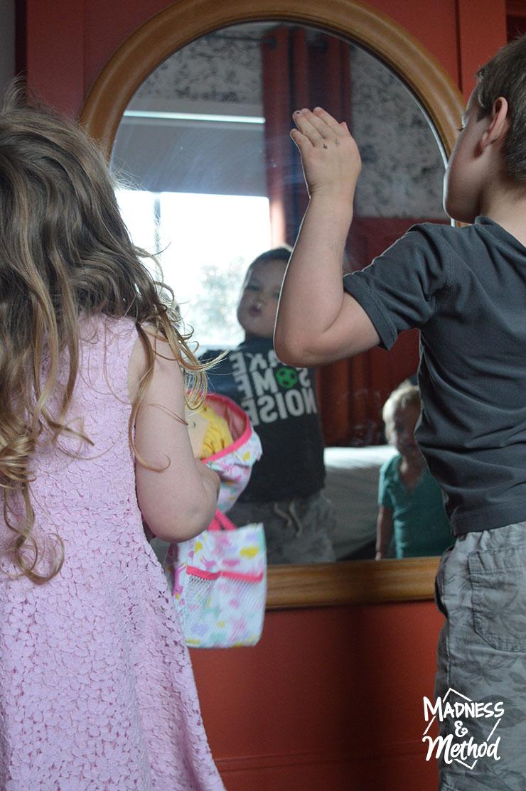 kids in mirror