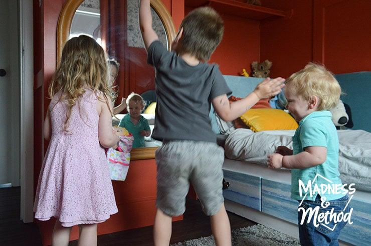 kids dancing in mirror