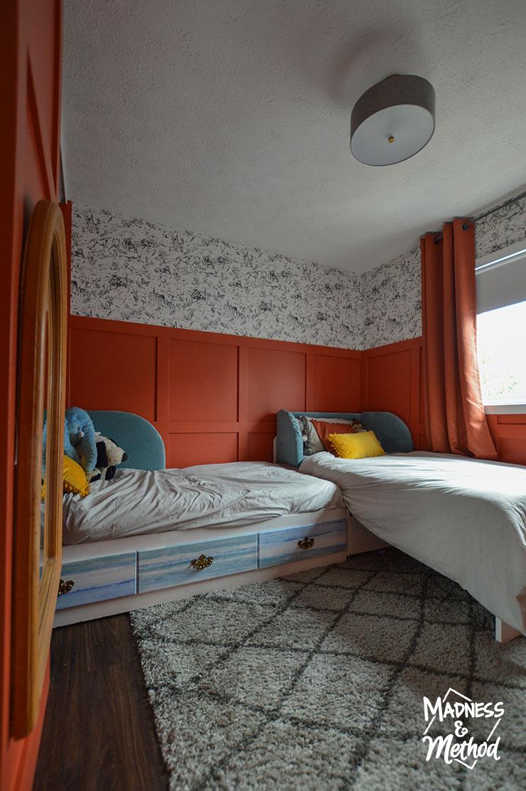 kids red bedroom reveal