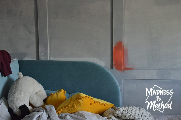 paint swatch near bed