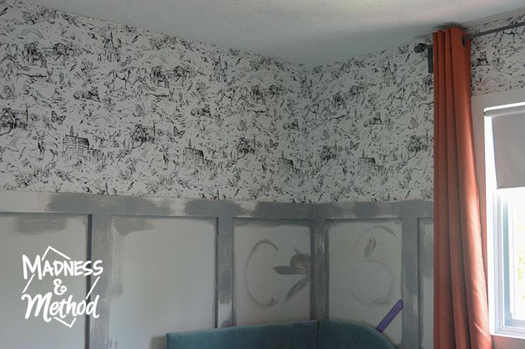 wallpaper above wainscoting