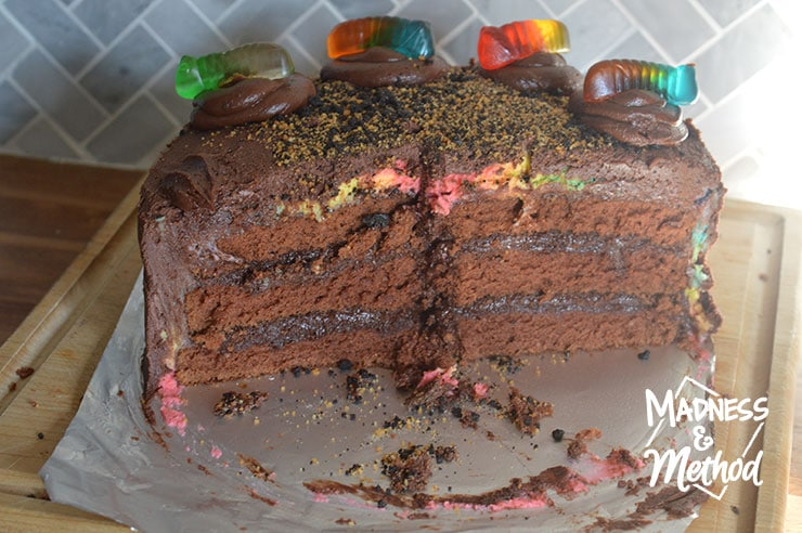 half of worms and dirt cake